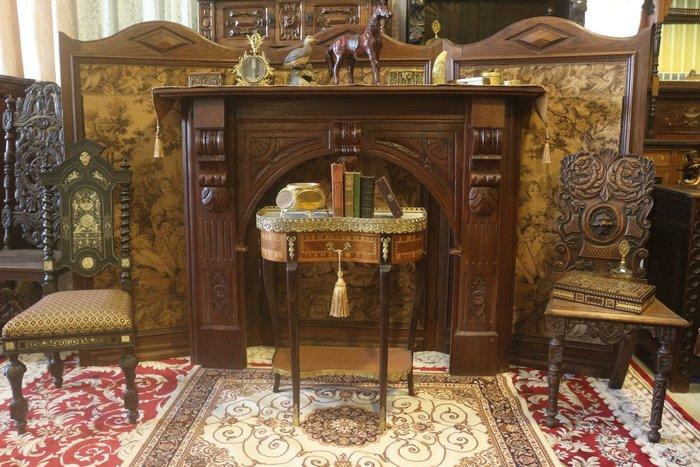 【家與收藏】特價極品稀有珍藏歐洲古董法國華麗宮廷手工木雕花壁爐框 5