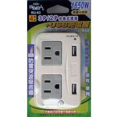 【需訂購】RU-63 3孔2座+2孔2座分接式插座+USB充電座2A 內置突波吸收保護器 USB充電指示燈