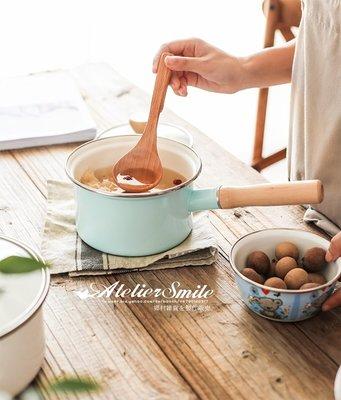 [ Atelier Smile ]  鄉村雜貨 日式 玻璃蓋 單柄搪瓷鍋 湯鍋 泡麵鍋 加厚琺瑯 #小款#藍 (現+預)