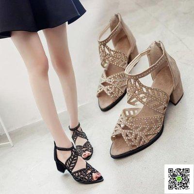 魚嘴高跟鞋 涼鞋女春新款韓版百搭時尚一字扣包頭粗跟高跟鞋羅馬鞋子 玫瑰女孩