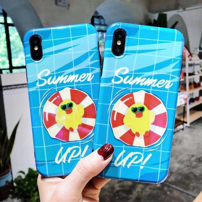 千夢貨鋪-游泳圈小鴨iPhoneX手機殼iPhone7/8輕薄軟膠殼7p/8plus磨砂保護殼