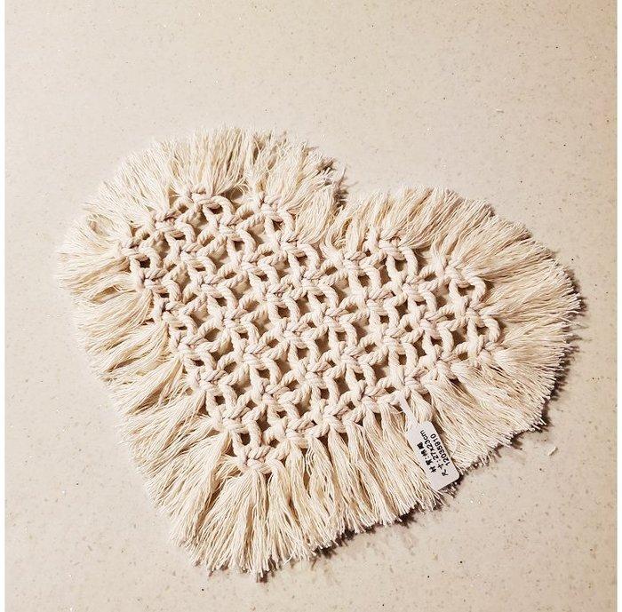 【萌古屋】手工棉繩白色愛心編織鍋墊杯墊隔熱墊