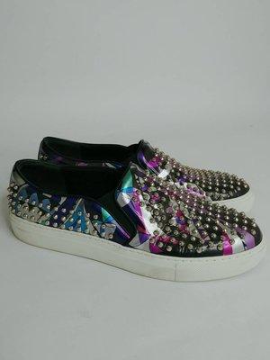【RECOVER名品二手】EMILIO PUCCI 黑底彩色鉚釘休閒鞋 平底鞋 鉚釘鞋