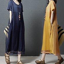短袖洋裝◎ 女人心語 ◎中大尺碼 溫柔飄逸棉麻歐根紗假二件連身裙 (二色) 預 MM-SK-BC-N