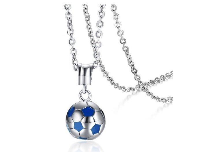 《316小舖》【F513】(優質白鋼項鍊-世界運動足球鋼項鍊-單件價 /鈦鋼項鍊/足球項鍊/世界運動項鍊/鋼球項鍊)