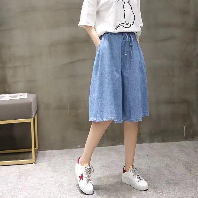 夏裝新款寬鬆天絲感牛仔五分褲裙褲TD6184