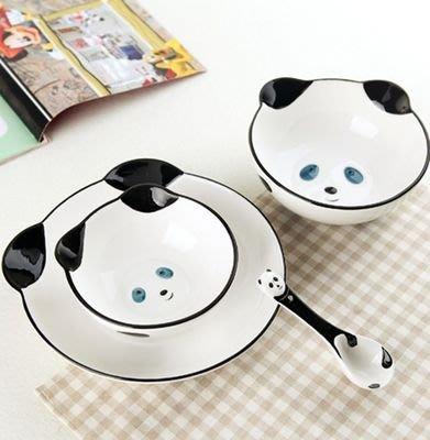 【奇滿來】兒童餐具 多款動物 熊貓 小黃鴨 碗2個+盤子+湯匙 多款 可愛動物 3D手繪餐具 四件組 陶瓷碗盤 BABO