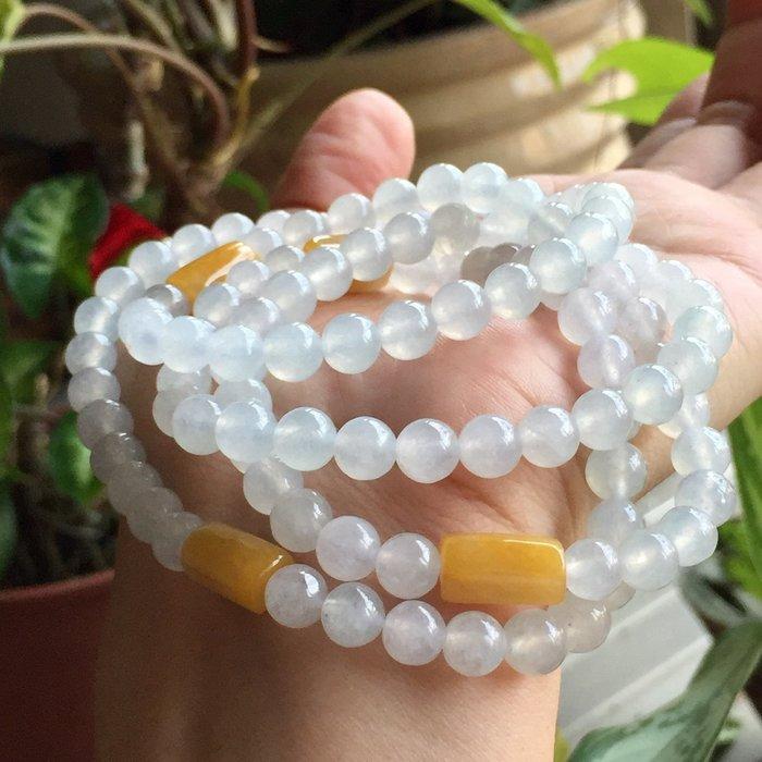 🌸翡麗寶盒🌸翡翠A貨冰種純亮白108顆珠鏈(金黃方塊款)