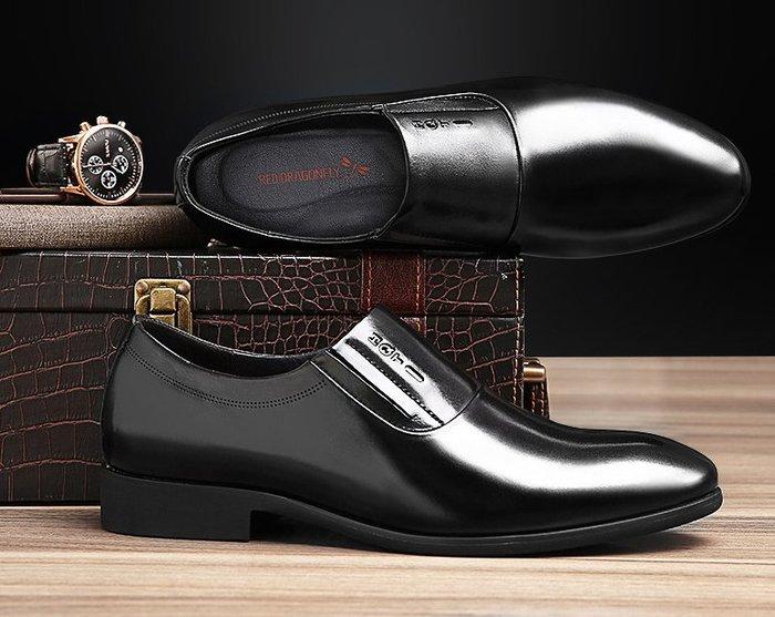 紅蜻蜓增高皮鞋男冬季加絨保暖男士內增高鞋男式真皮商務正裝男鞋
