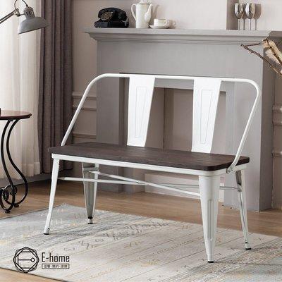 E-home Olga歐加工業風金屬木面高背長板凳-三色可選 桃園市