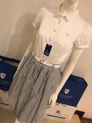 Burberry blue label 雕花領 白色短袖襯衫,現貨sale~~~~