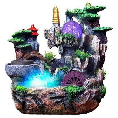 假山流水噴泉招財風水輪加濕器家居裝飾工藝禮品客廳辦公室小擺件【  】