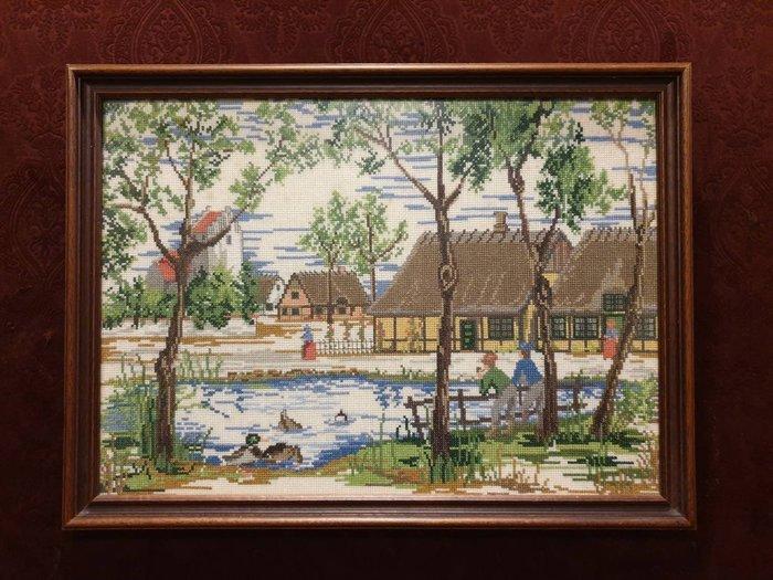 【卡卡頌 歐洲古董】💐比利時老件 細膩  手工  針織  十字繡  美麗  鄉間風情  掛畫  pa0338 ✬