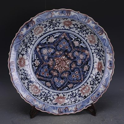 【三顧茅廬 】元青花釉里紅藍地白花如意肩花卉棱口盤 官窯文物古瓷器古玩收藏