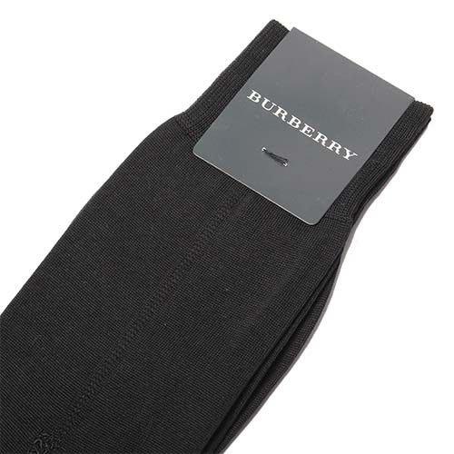 【姐只賣真貨】BURBERRY經典格紋混毛料紳士襪休閒襪(黑) 父親節88節禮物