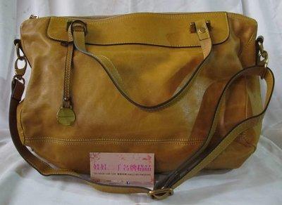 ♥♥娃娃二手名牌精品♥♥RABEANCO-黃色 牛皮 拉鍊式 肩背包 手提包 斜背包 休閒包~特價6980