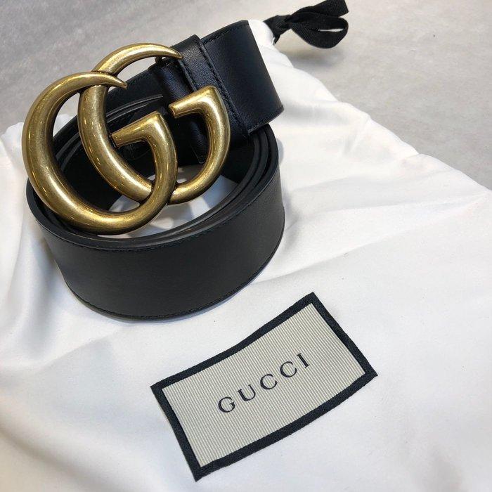 [艾飛兒名牌精品]GUCCI 寬版復古金Logo腰帶 80cm