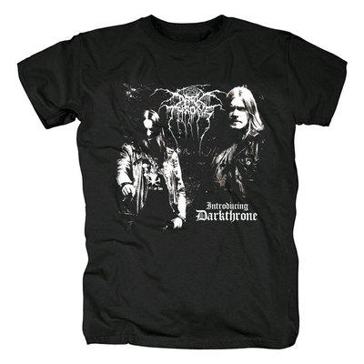 Darkthrone黑金屬Introducing專輯重金屬樂隊印花圓領短袖男T恤