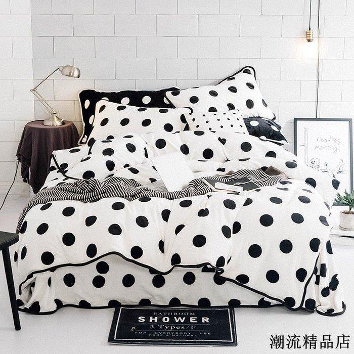韓式牛奶絨加厚四件套冬季毛絨保暖套件雙面法蘭絨寶寶絨被套床單