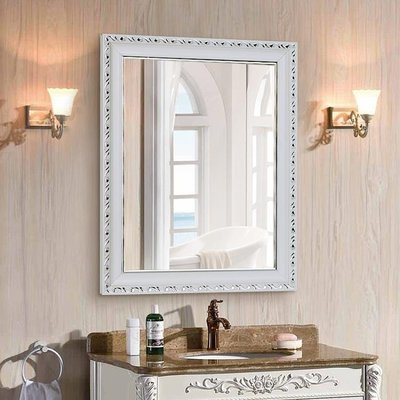 歐式浴室鏡粘貼帶框鏡子衛生間鏡衛浴鏡洗手間鏡貼墻鏡壁掛鏡梳妝
