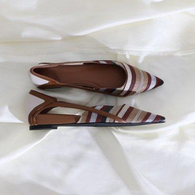 墨染·蓮花府邸2121秋季新款單鞋尖頭平底鞋簡約通勤復古低跟鞋百搭時尚
