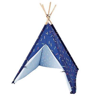 【Mimi Rabbit 】印地安人四角玩具帳篷兒童遊戲屋  印第安風格 木頭支架 抗UV 螢光藍 包腳款【特價】