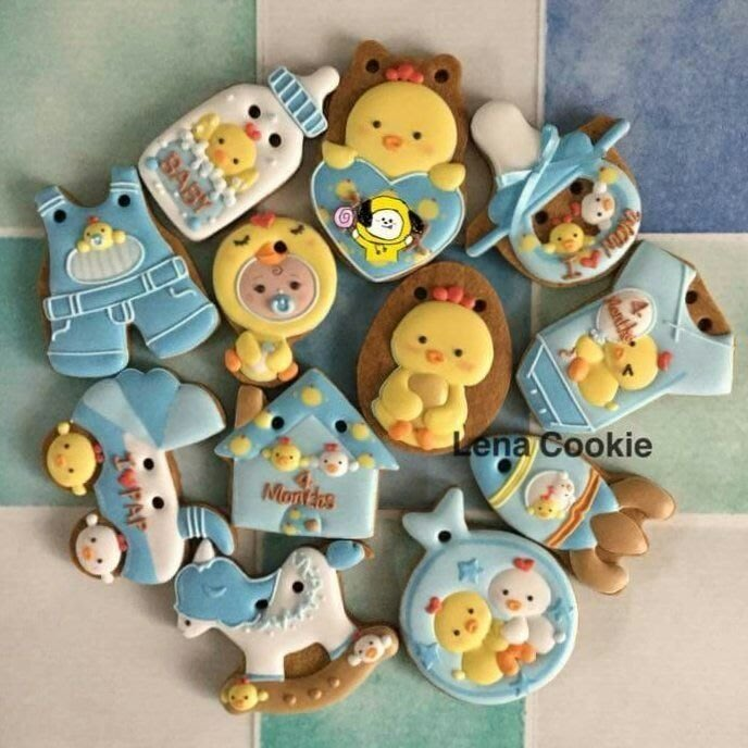 可接急單 收涎餅乾 雞寶寶系列  男寶12片 糖霜餅乾 不挑款(Lena Cookie)