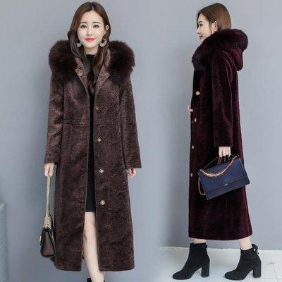 羊剪絨大衣女新款2018冬季女裝加厚連帽長款顯瘦海寧反季皮草外套