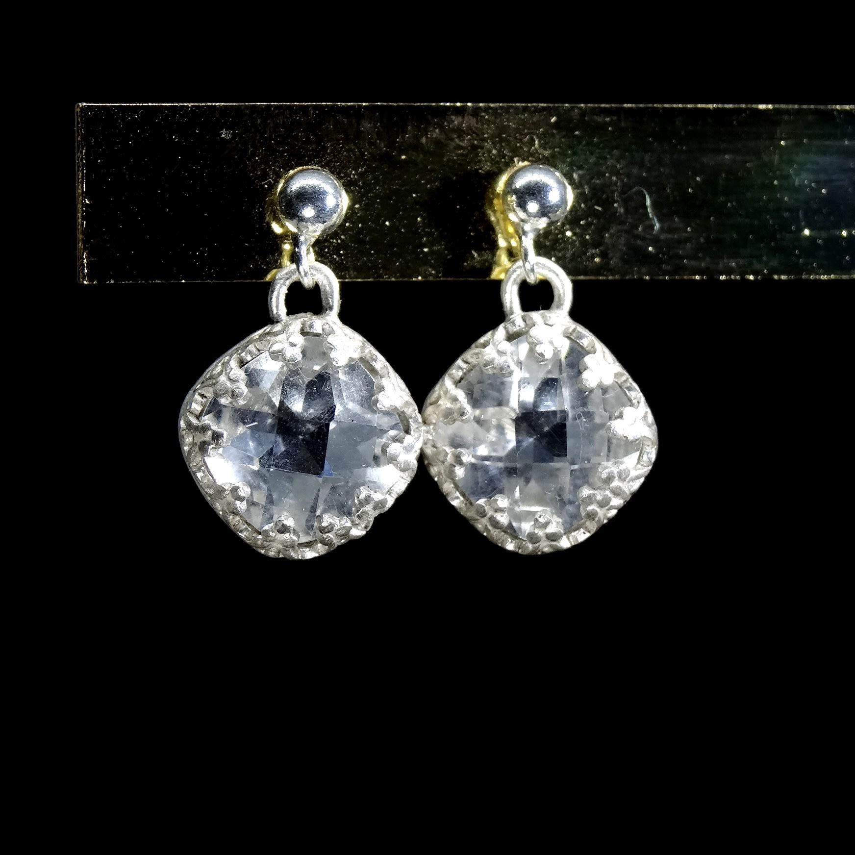 【善觀手作精品】耳環 天然 白水晶 鑽切閃亮 925銀飾 寶石 金工 手工 手創 飾品 首飾