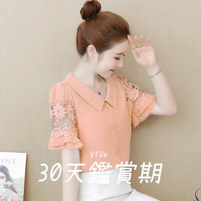 實拍 S-2XL 蕾絲 雪紡 襯衫 上衣 粉紅色 桔色 藍色 雪紡衫 百搭 夏季 短袖 印花 內搭衣 女年 E0CF6E