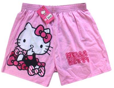 【卡漫迷】 Hello Kitty 短褲 粉 蝴蝶結 二種尺寸 ㊣版 休閒褲 凱蒂貓 純棉 四角褲 居家 平口褲 睡褲