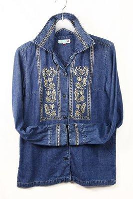【古物箱~霹靂膠囊】日本 ROSE BUD 古著 民族風圖騰 單寧 牛仔 襯衫 (日本製 二手 古著 老件)