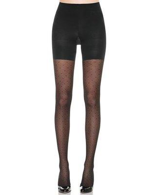 美國品牌SPANX~菱形格紋中腰塑身連身褲襪/束身褲 40DEN #2240 ASSETS系列 黑色