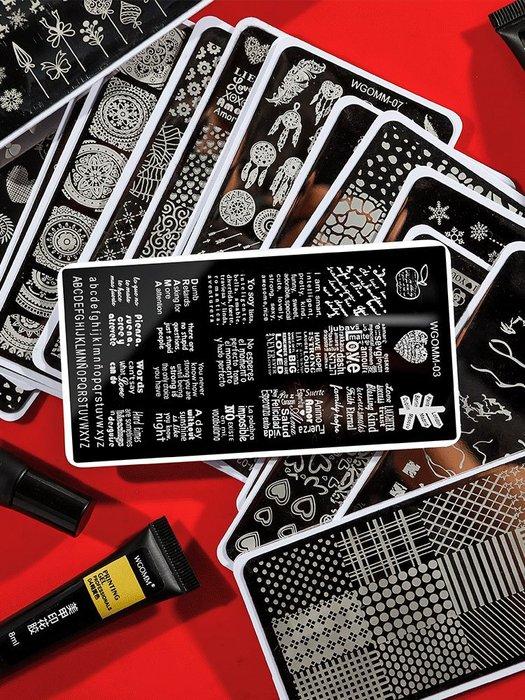 奇奇店-美甲鋼板印花板配合印花膠防溢膠印章刮板初學者套裝彩繪工具印花