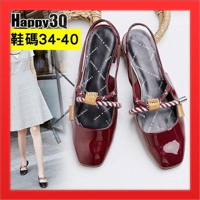 方頭女鞋涼鞋漆皮女鞋40碼亮皮女鞋子低跟包頭女鞋子-紅/黑34-40【AAA4320】