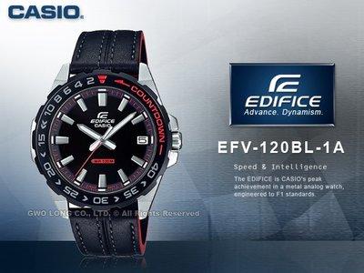 CASIO 手錶專賣店 國隆 EEFV-120BL-1A EDIFICE 簡約指針男錶 皮革錶\帶 EFV-120BL