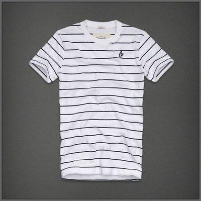 美國AMPM 【現貨 #T10】AF / A&F Keene Valley 型男條紋圓領 logo 白色T / XL號