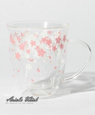 Ariel Wish-日本Afternoon Tea限定春櫻浪漫粉紅色櫻花杯單耳玻璃杯子泡茶杯耐熱雙層玻璃杯咖啡杯-現貨