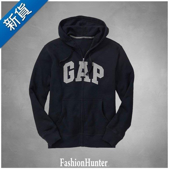 新貨【FH.cc】GAP 鋪棉連帽外套 Arch logo zip hoodie 海軍藍底灰字 高質感縫布 細緻十字編織