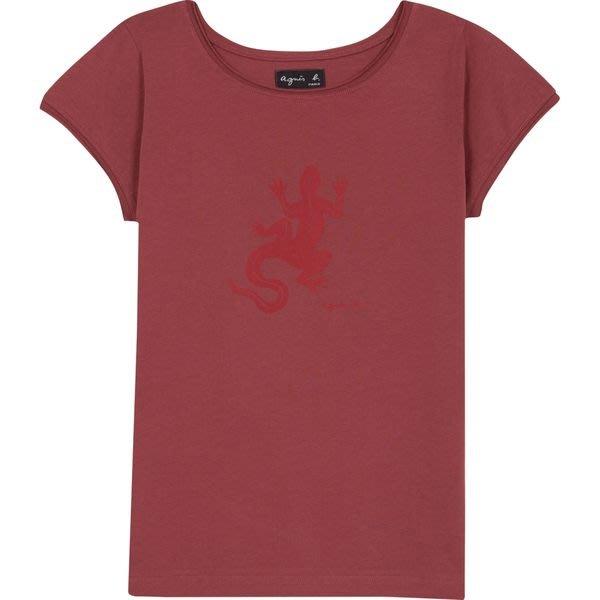 REISEN:FR.真品現貨!agnes b. 女款經典蜥蜴LOGO紅色短袖T-SHIRT!全新附 agnes b. 官網購買證明