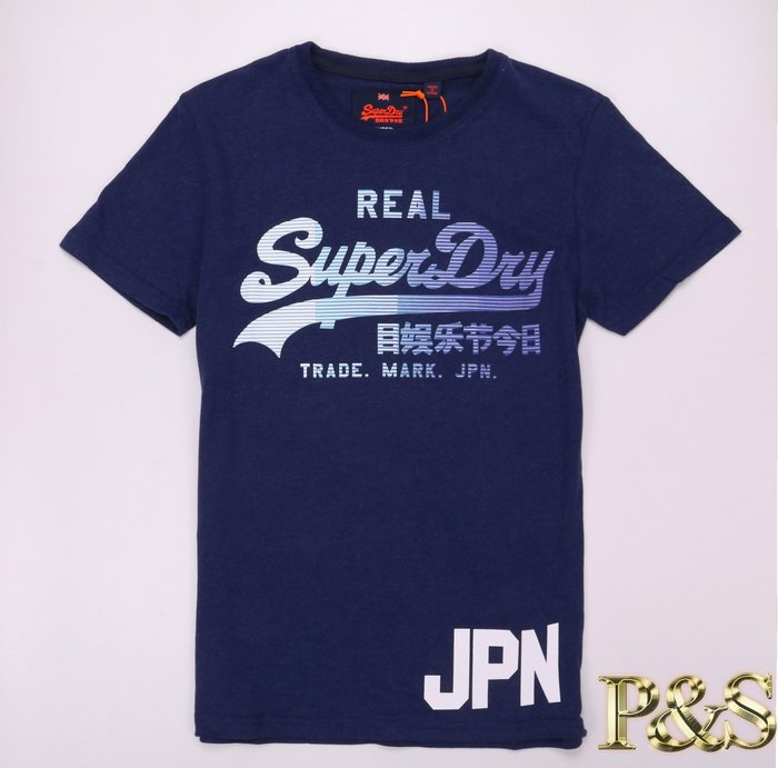 [P S]3號5樓 全新正品 Superdry Vintage Logo 1st  男款 基本Logo 短T 深藍色