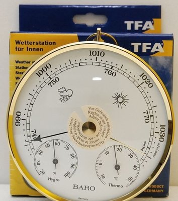指針式德國高級 大氣壓力計 TFA 西德溫濕度計溫度計濕度計大氣壓力表大氣壓力錶BARO