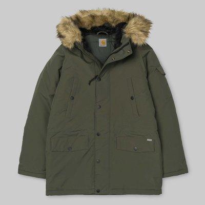 現貨 Carhartt WIP Anchorage 黑色 藍色 綠色 防潑水 合成 毛料 連帽 風衣 軍裝 外套