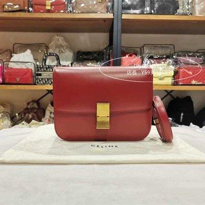 二手正品 Celine 賽琳CLASSIC中號拋光牛皮革手袋 紅色 BOX 單肩包 斜挎包 189173 現貨