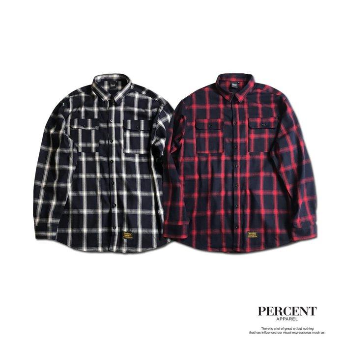 PERCENT% 磨毛格紋襯衫