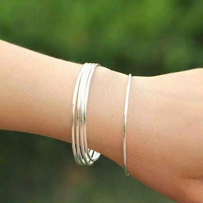 嗨,寶貝銀飾珠寶* 925純銀☆999純銀 時尚 混搭 光面 簡約 三環實心純銀手環 手鐲