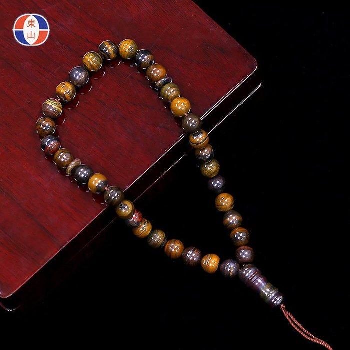 【思福緣】天然鐵虎石念珠掛件伊斯蘭33粒贊珠泰斯比哈虎眼石TBG040