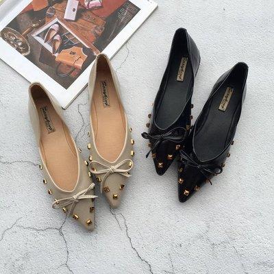 尖頭平底鞋蝴蝶結淑女時尚女春夏單鞋百搭軟底瓢鞋