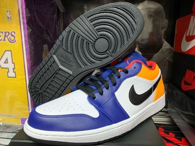 全新台灣公司貨 AIR JORDAN 1  LOW 藍黃 湖人 配色 553558-123 AJ1 籃球鞋