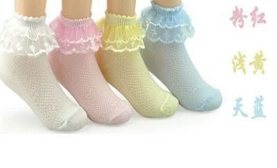 =***新款刺繡網眼襪童襪蕾絲花邊短襪寶寶韓版蝴蝶結公主純棉襪